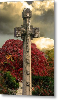 Metal Print featuring the photograph Stone Cross In Fall Garden by Lesa Fine
