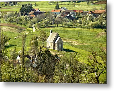Stone Made Church In Green Nature Metal Print