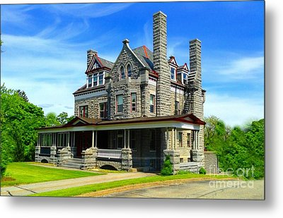 Metal Print featuring the photograph Stone Mansion Blue Sky by Becky Lupe