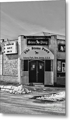 Stone Pony In Black And White Metal Print