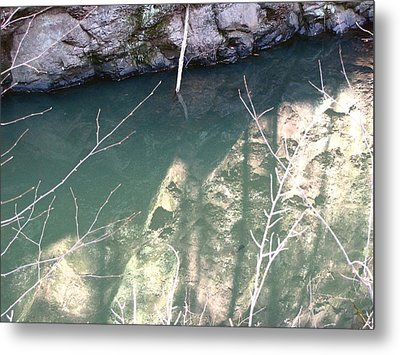 Stone Reflection In Water Metal Print