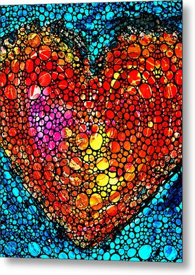 Stone Rock'd Heart - Colorful Love From Sharon Cummings Metal Print by Sharon Cummings