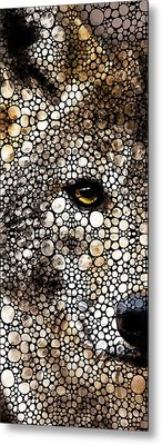 Stone Rock'd Wolf Art By Sharon Cummings Metal Print by Sharon Cummings