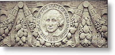 Metal Print featuring the photograph Stone Seal Of The State Of Washington by Merle Junk