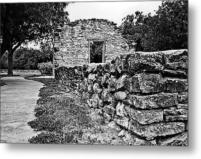 Metal Print featuring the photograph Stone Wall At Mission Espada by Andy Crawford