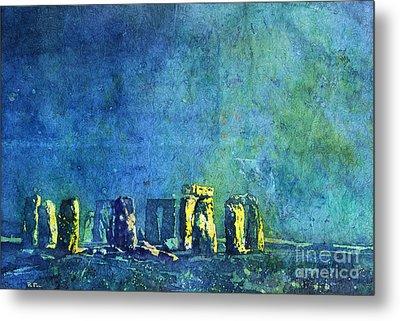 Stonehenge In Moonlight Metal Print