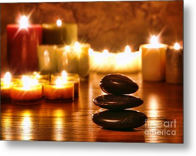 Stones Cairn And Candles Metal Print by Olivier Le Queinec