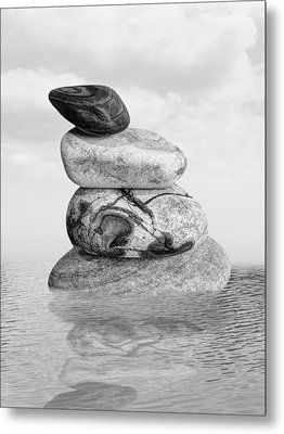 Stones In Water Black And White Metal Print