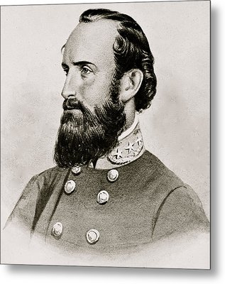 Stonewall Jackson Confederate General Portrait Metal Print
