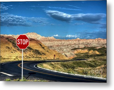 Stop At The Badlands Metal Print by Mel Steinhauer