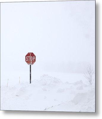 Stop For Snowstorm Metal Print
