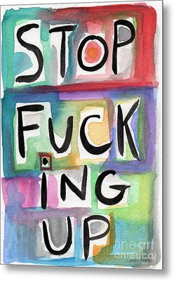 Stop Metal Print by Linda Woods