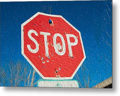 Stop With Bullet Holes. Metal Print
