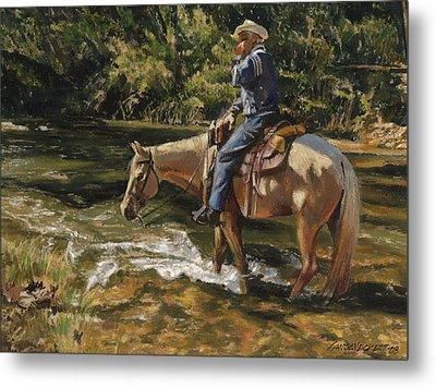 Man On Horse Cooling Feet Metal Print by Don  Langeneckert