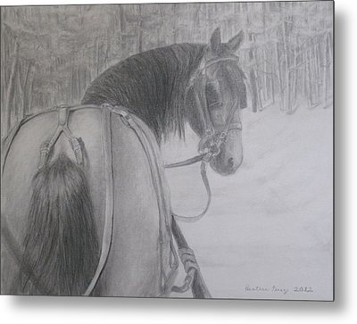 Stopping In A Snowy Wood Metal Print by Heather Perez