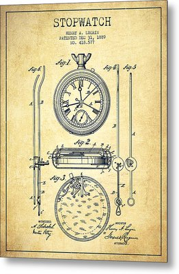 Stopwatch Patent Drawing From 1889 -vintage Metal Print by Aged Pixel