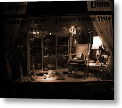 Store Window At Night Metal Print by Phil Penne