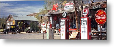 Store With A Gas Station Metal Print by Panoramic Images