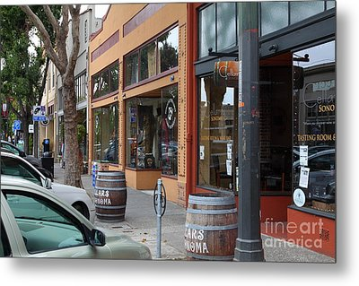 Storefronts In Historic Railroad Square Santa Rosa California 5d25804 Metal Print by Wingsdomain Art and Photography