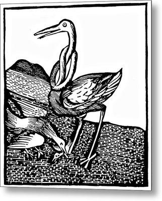 Stork Wood Engraving Metal Print by