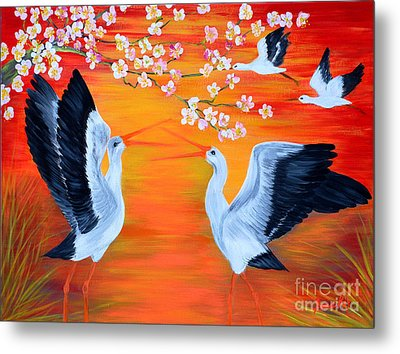 Storks And Cherry Blossom Metal Print