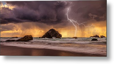 Storm At Face Rock Metal Print by Darren  White
