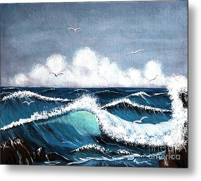 Storm At Sea Metal Print by Barbara Griffin