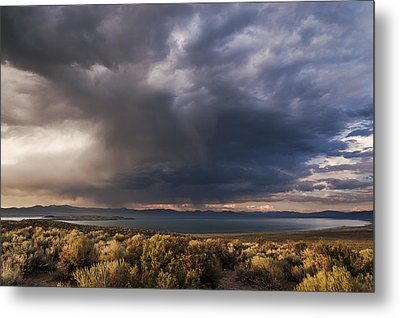Storm Cell Over Mono Lake Metal Print by Cat Connor