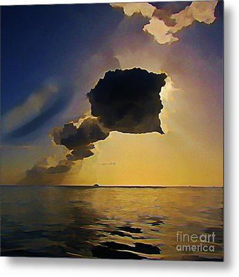 Storm Cloud Over Calm Waters Metal Print