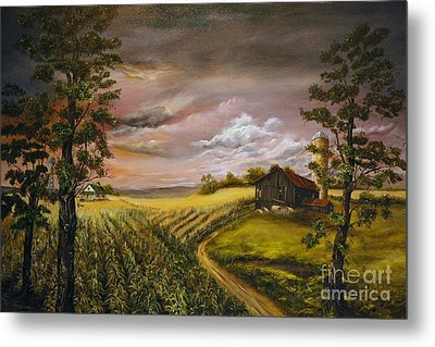 Metal Print featuring the painting Storm  Clouds by Anna-Maria Dickinson