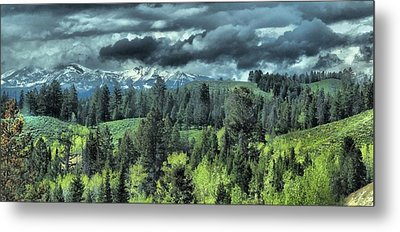 Storm Clouds In The Tetons Metal Print
