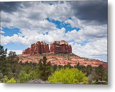 Metal Print featuring the photograph Storm Clouds Over Cathedral Rocks by Jeff Goulden