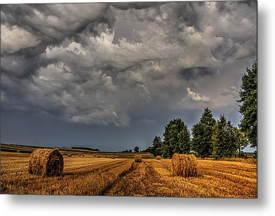 Storm Clouds Over Harvested Field In Poland 2 Metal Print