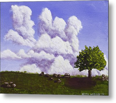 Storm Clouds Over Maine Blueberry Field Metal Print