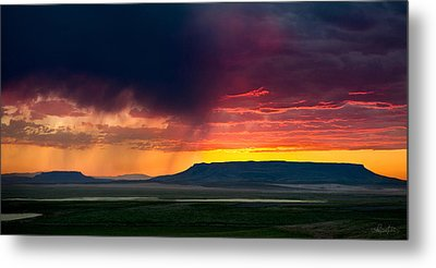 Storm Clouds Over Square Butte Metal Print by Renee Sullivan