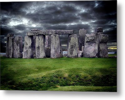 Storm Clouds Over Stonehenge Metal Print