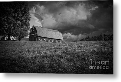Storm Clouds Over The Farm Metal Print by Edward Fielding