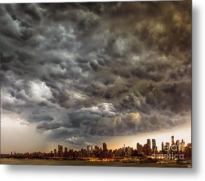 Storm Coulds Over Nyc Metal Print by Jerry Fornarotto