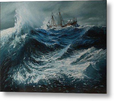 Storm In The Sea Metal Print by Shobita Sreekumar