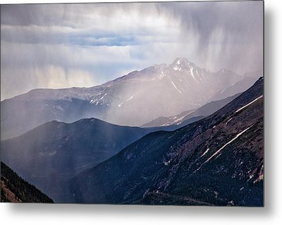 Storm Near Longs Peak Metal Print by Adam Pender