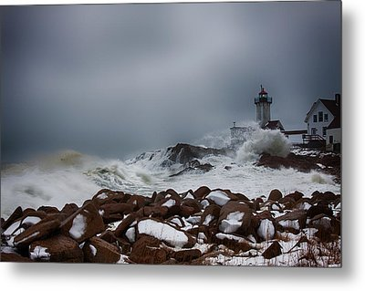 Storm Off Eastern Point Lighthouse Metal Print