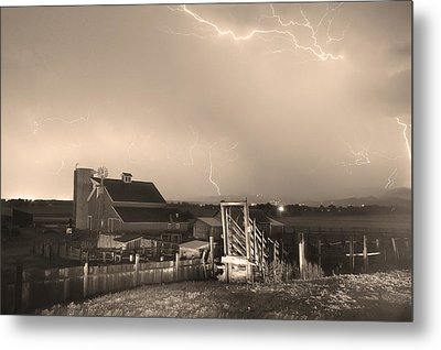Storm On The Farm In Black And White Sepia Metal Print by James BO  Insogna