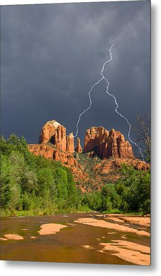 Storm Over Cathedral Rock Metal Print by Alexey Stiop