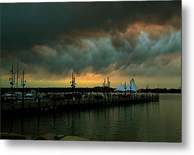 Storm Over National Harbor Oil Metal Print
