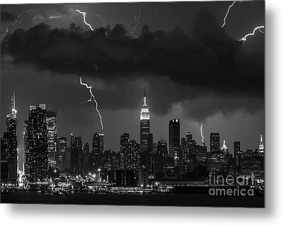 Storm Over Nyc  Metal Print by Jerry Fornarotto