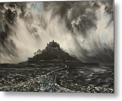 Metal Print featuring the painting Storm Over St Michaels Mount Cornwall by Jean Walker