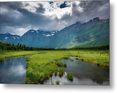 Storm Over The Mountains Metal Print