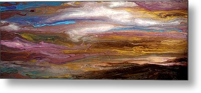 Storms At Sunset / Original Skyscape Painting Metal Print