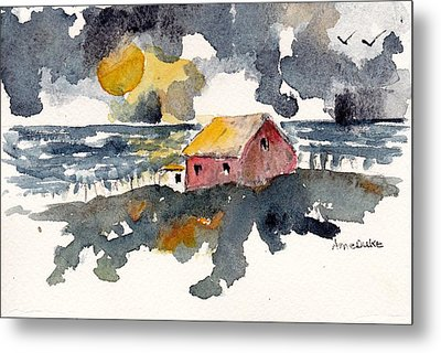Metal Print featuring the painting Storm's Over by Anne Duke