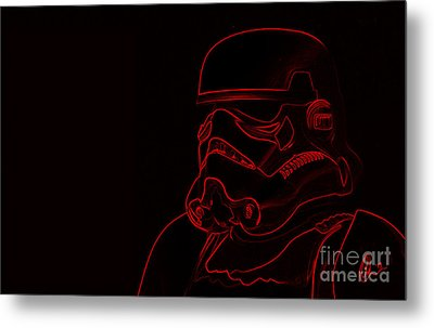 Metal Print featuring the digital art Stormtrooper In Red by Chris Thomas